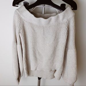 Miracle Off Shoulder Grey Balloon Sleeve Sweater
